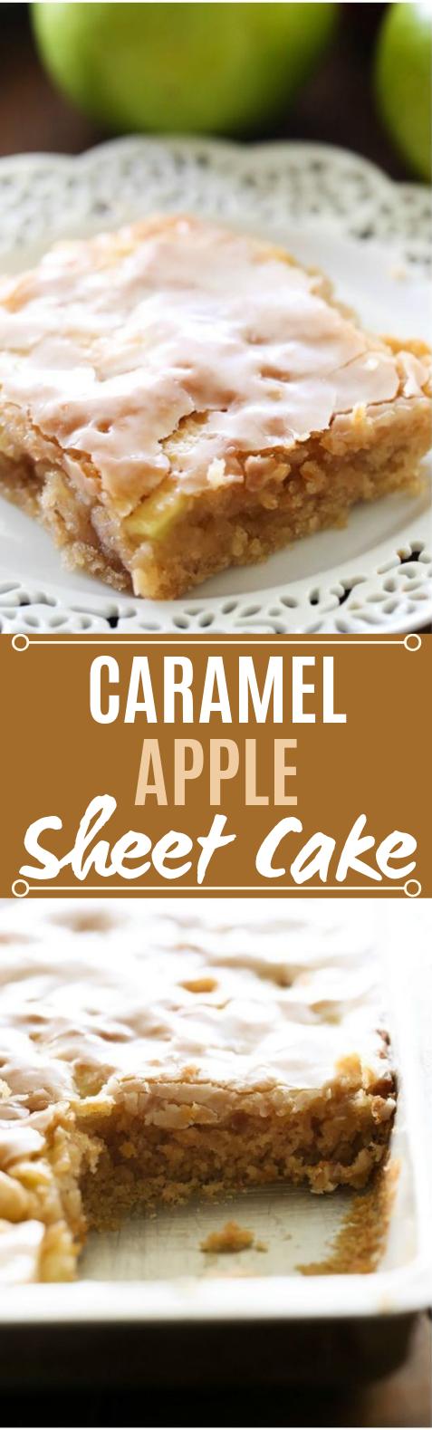 Caramel Apple Sheet Cake #desserts #cake