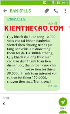 bankplus nhận 10K viettel, bankplus kiếm tiền, bankplus kiem tien online