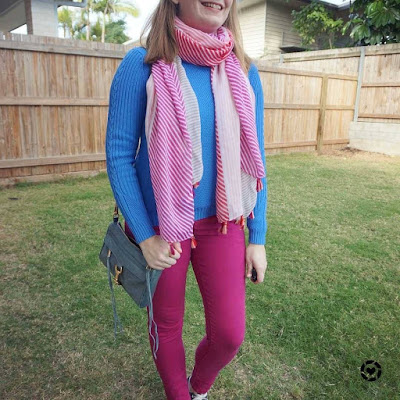 awayfromtheblue Insgrama | blue and pink skinny jeans knit jumper striped scarf colourful winter school run outfit