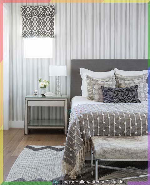 غرف نوم لون ابيض ورمادي