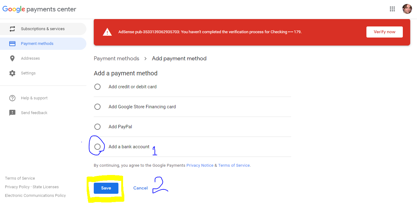 payments.google.com account