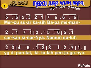 Lirik dan Not NKB 206 Mercusuar Kasih Bapa