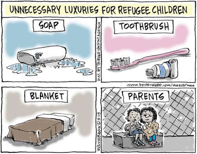 Title:  Unnecessary Luxuries for Refugee Children.  Image:  Soap, Toothbrush, Blanket, Parents.