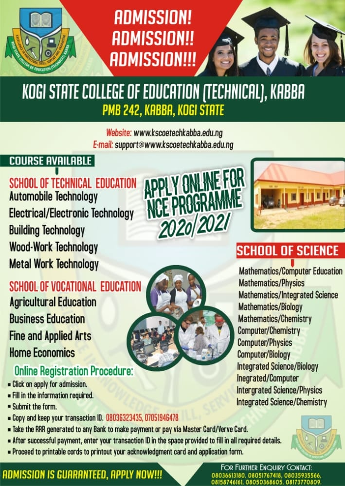KSCOE (Tech.) Kabba Admission Form 2020/2021 [NCE & Pre-NCE]