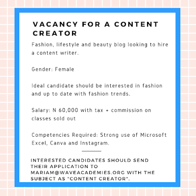 VACANCY FOR A CONTENT CREATOR