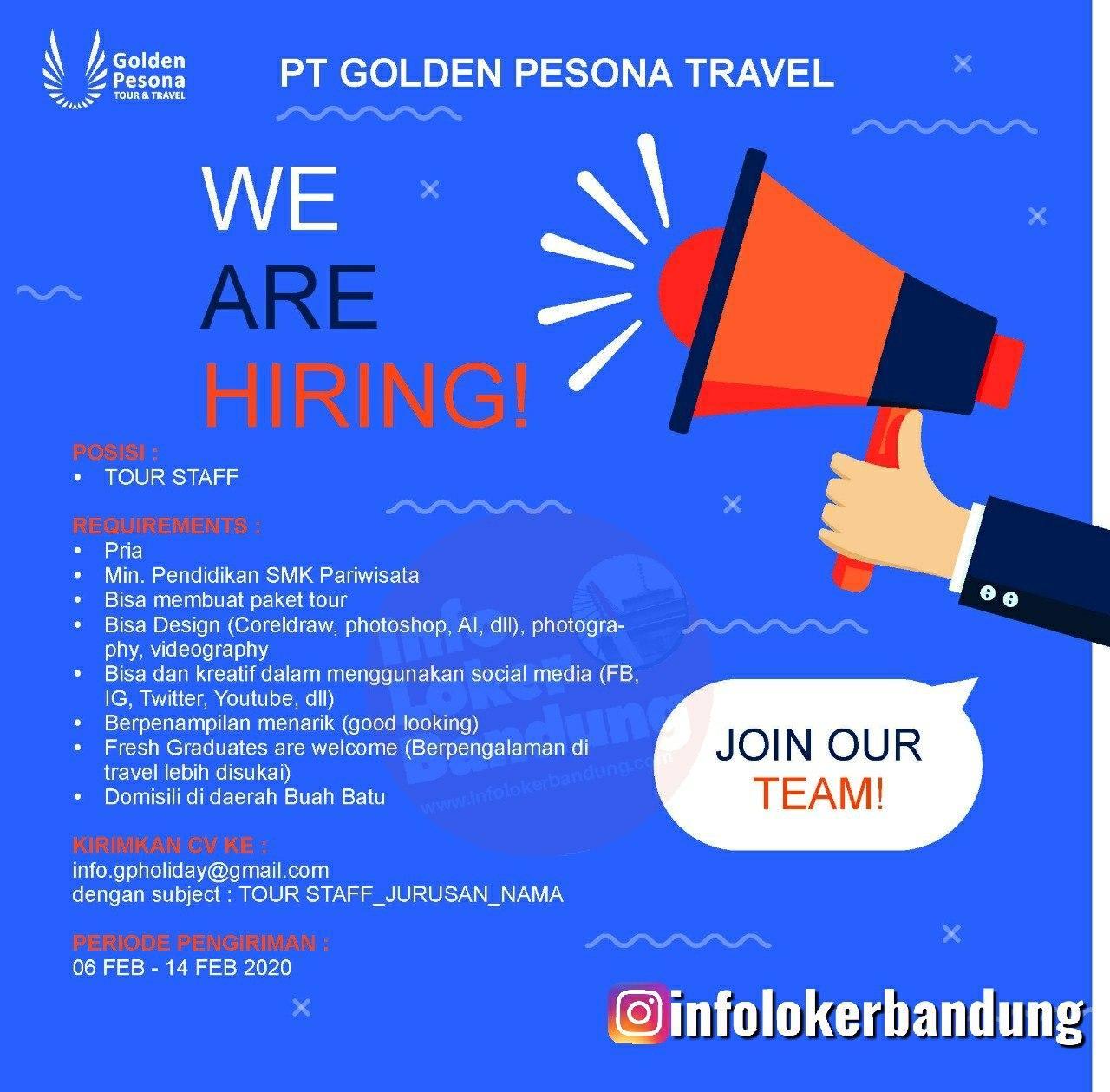 Lowongan Kerja PT. Golden Pesona Travel Bandung Februari 2020