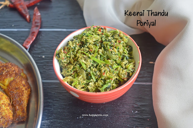 Keerai Thandu Poriyal Recipe | Spinach Stem Stir Fry