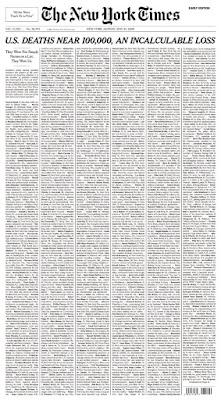 Nyaris 100 Ribu Kematian, NY Times Muat Daftar Korban Covid-19