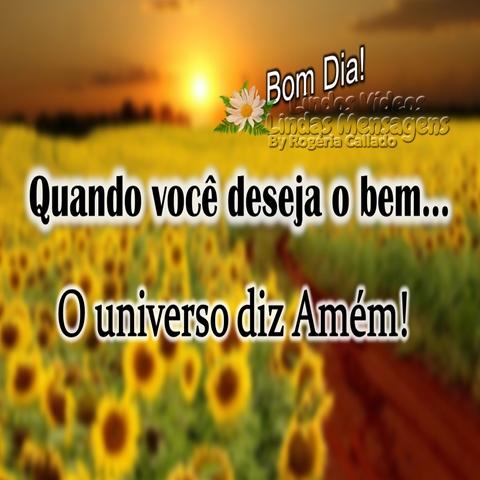 Quando você deseja o bem...  O universo diz Amém!  Bom Dia!