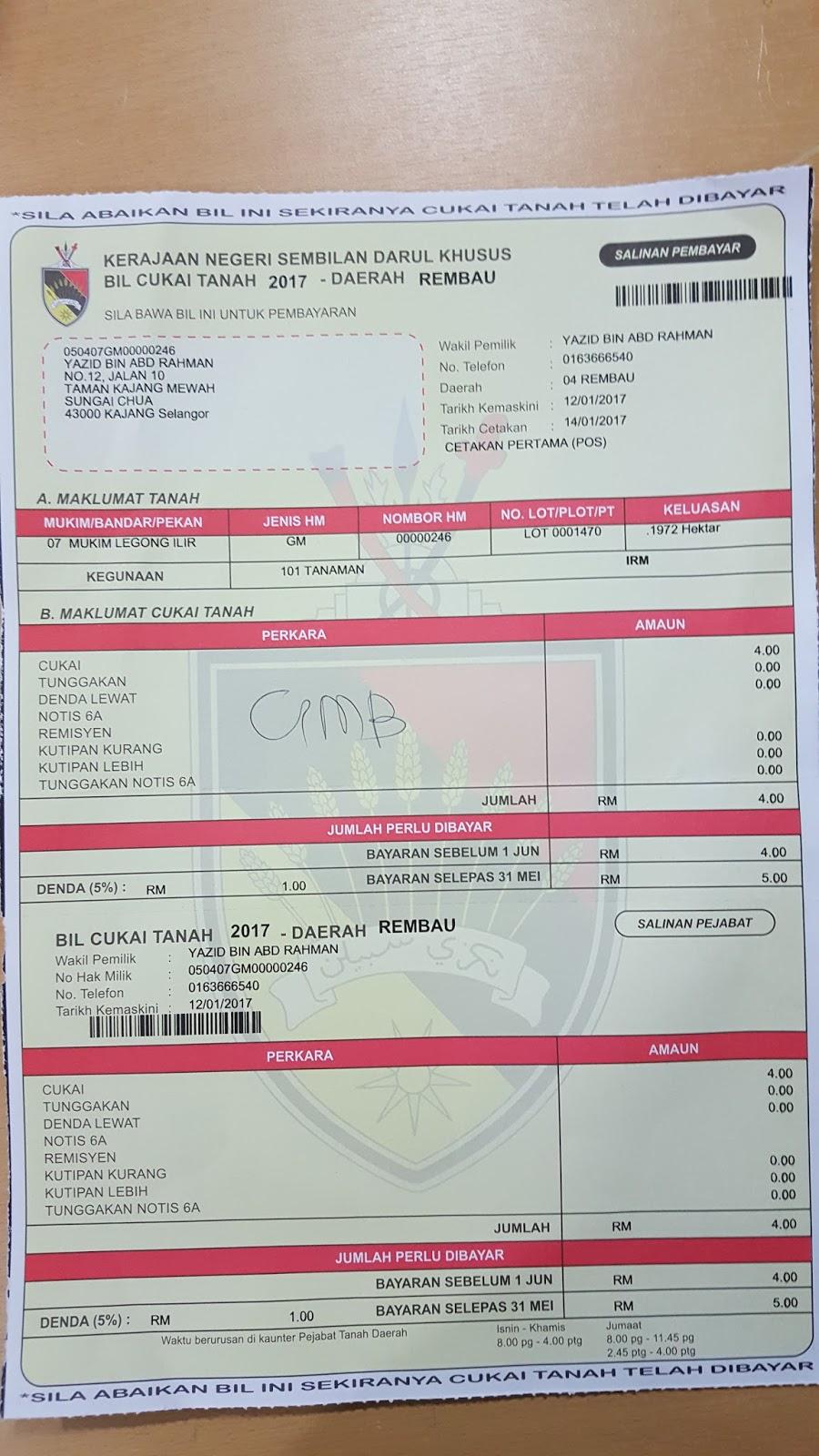 dizay164: Contoh Bil Cukai Tanah Negeri Sembilan