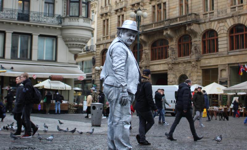 srebrny człowiek, człowiek pomalowany srebrną farbą