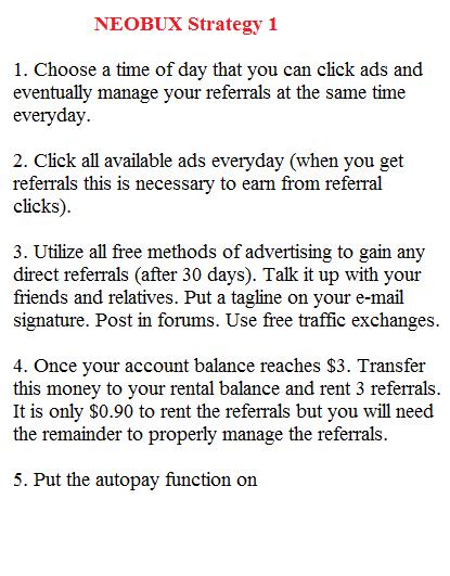 Neobux Strategy 1: www.checklistmag.com