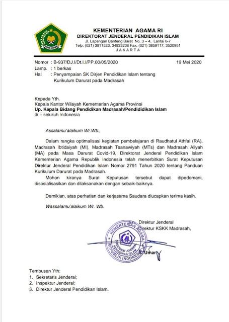 Surat Edaran Panduan Kurikulum Masa Darurat Pada RA dan Madrasah (MI, MTs, dan MA)