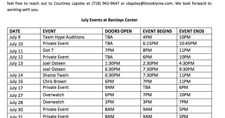 Barclays Center releases July 2018 calendar: seven ticketed events