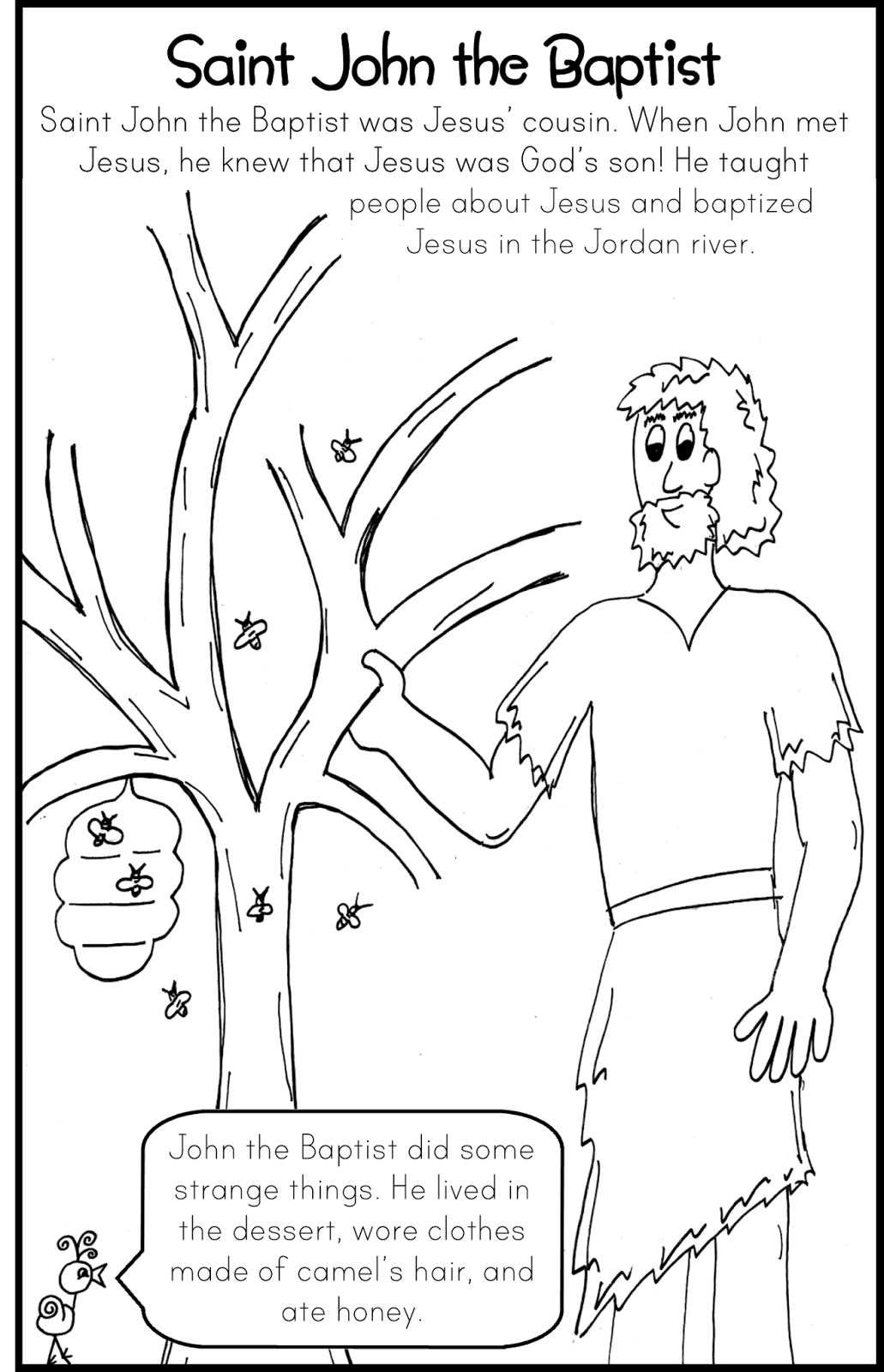 Free coloring pages john the baptist