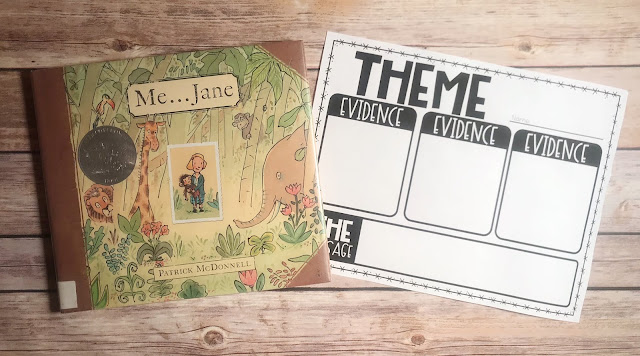 "Mentor Text with text ""Me...Jane"" and Graphic Organizer with text ""Theme"""