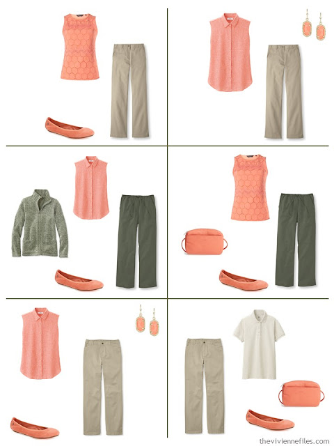 six outfits using coral as an accent for olive green or beige, in warmer weather