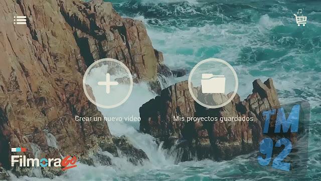 FilmoraGo para Android pantalla inicial