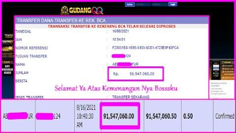 Selamat Kepada Member Setia GudangQQ WD sebesar Rp. 91.547.060.-