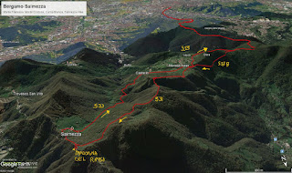 Hike tracks from Bergamo to Salmezza calling out trails 531 and 533.