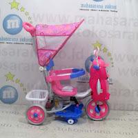 Sepeda Roda Tiga Family F9457T Suspensi Musik Dobel Penguin & Bintang Pink