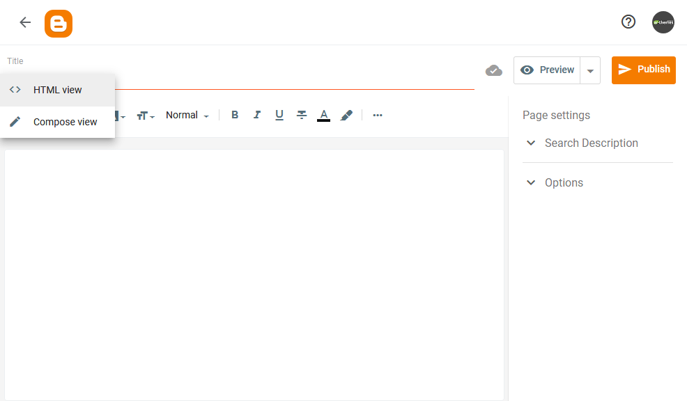 Adding Contact Form to Static Page or Post in Blogger HTML View Image