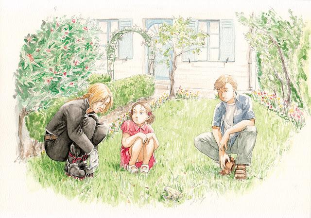 Edward, Alphonse Elric et Elysia Hugues dans un jardin - aquarelle FMA