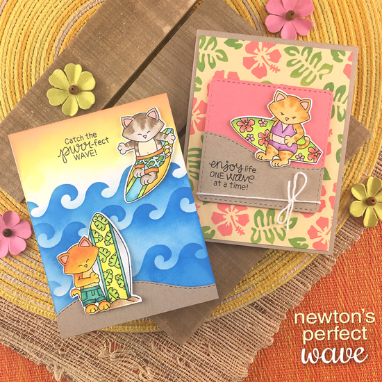 Cat at the Beach Surfing Cards by Jennifer Jackson | Newton's Perfect Wave Stamp Set, Waves & Splashes Stencil, Land Borders Die Set, and Hibiscus Stencil Set by Newton's Nook Designs #newtonsnook #handmade