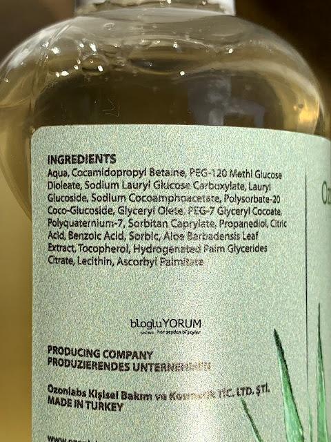 ozonlabs aloe vera şampuan içeriği