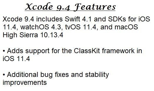 Xcode 9.4 Features