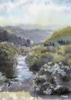 水彩画 6月 あじさいと胎内川 Watercolor