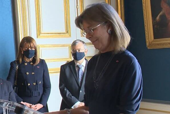 Princess Caroline of Monaco presented the Order of Cultural Merit at Prince's Palace. Prince Rainier III. 2020 National Day of Monaco