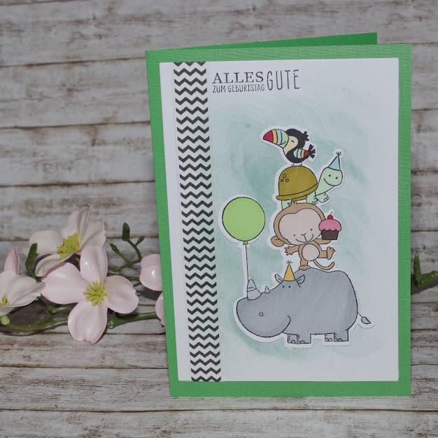 [DIY] Happy Birth-Yay  Grußkarte zum Kindergeburtstag mit Nashorn, Affe, Schildkröte und buntem Vogel