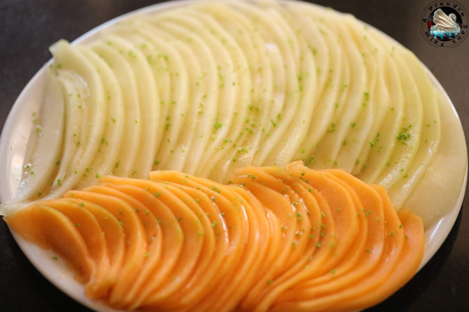 Carpaccio de melon au citron vert