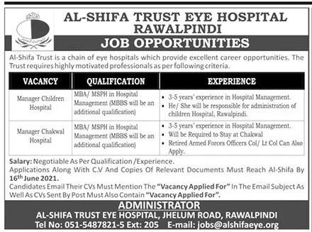 Al Shifa Trust Eye Hospital Jobs 2021 – Latest Jobs in Pakistan 2021