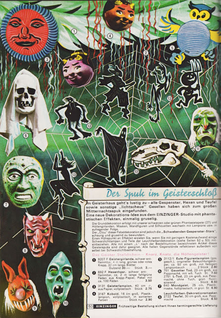 Ghosts, spooks, in a giant spider web from a German catalog for Karneval