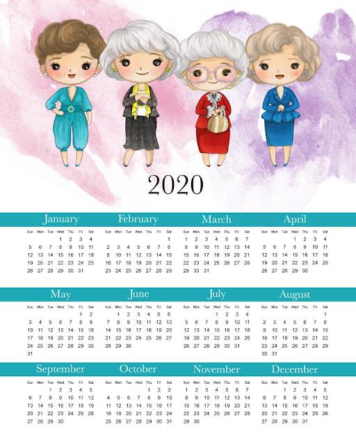 Las Chicas de Oro: Calendario 2020 para Imprimir Gratis.