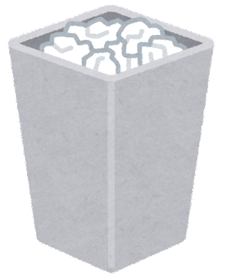 ゴミ箱のイラスト(満杯・四角)