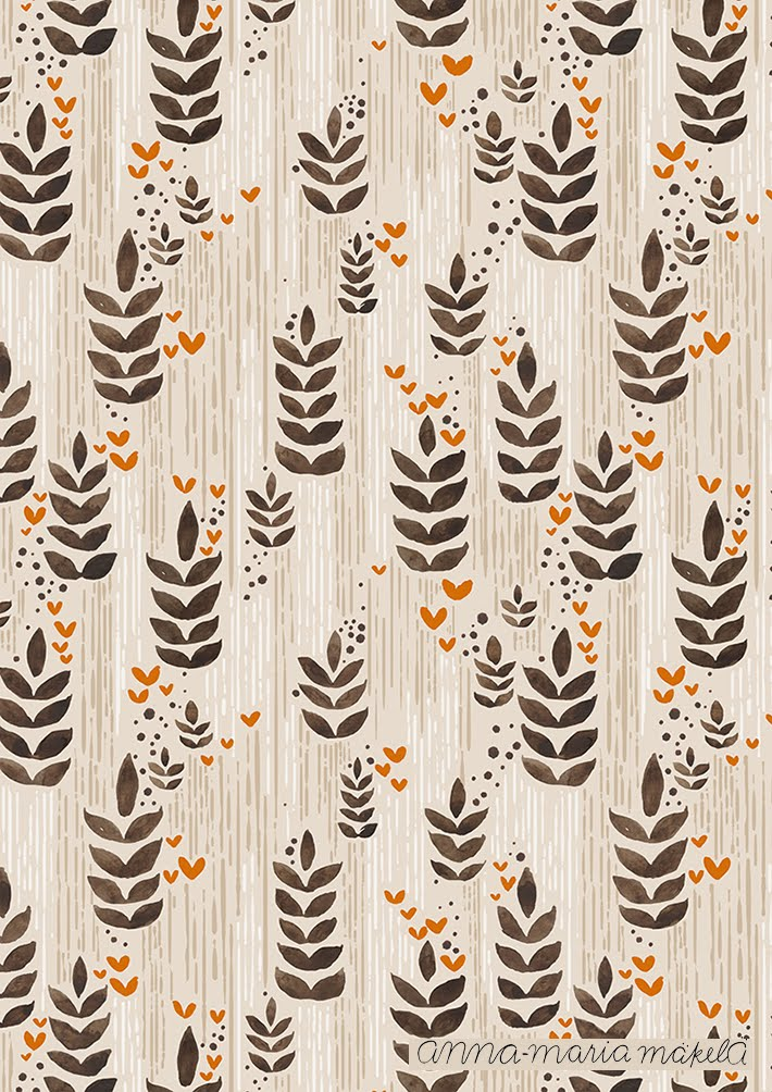 Kuosisuunnittelu, Anna-Maria Mäkelä, Annan tirpat, kukkakuosi, kangaskuosi, beige ,luonto vesivärit