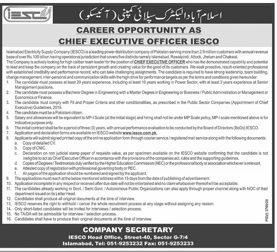 iesco-jobs-2021-advertisement-Application-form-islamabad-electric-supply-company