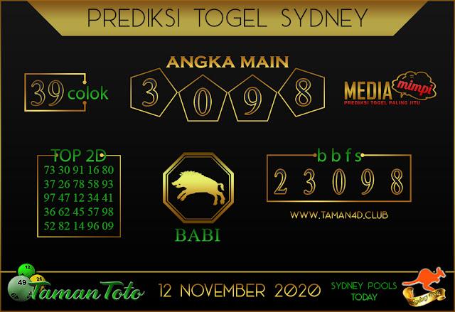 Prediksi Togel SYDNEY TAMAN TOTO 12 NOVEMBER 2020