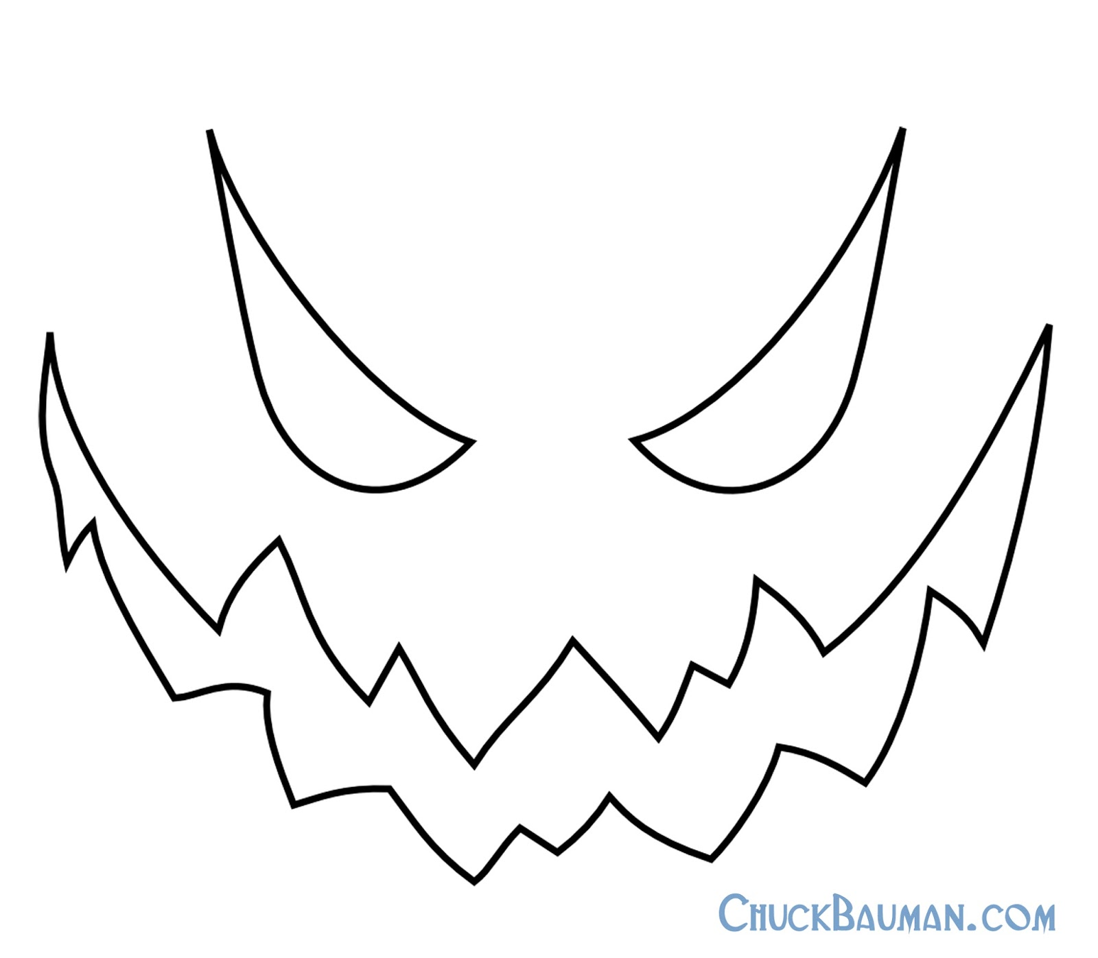 Free printable jack skellington pumpkin carving stencil for Evil pumpkin face template