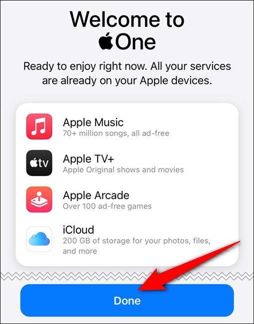 """تم تأكيد اشتراكك في Apple One.  اضغط على زر """"تم"""""""
