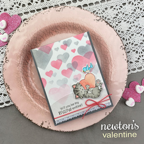 Kitty Valentine Card with Heart Bokeh Background by Jennifer Jackson | Newton's Valentine Stamp Set Stamp Set,  Bokeh Hearts Stencil Set and Land Borders Die Set by Newton's Nook Designs #newtonsnook #handmade