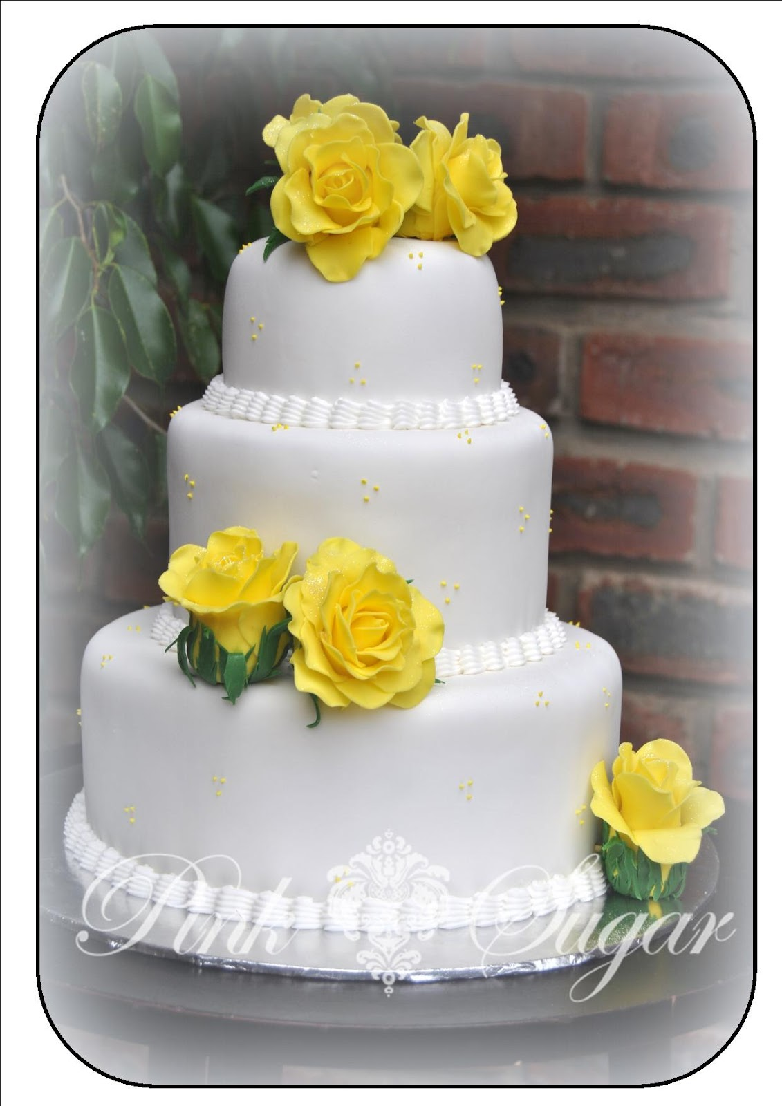 Pink Sugar Yellow Sugarcraft Rose Wedding Cake