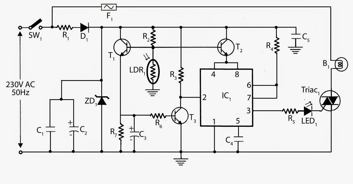 automatic street light switch using 555 ic