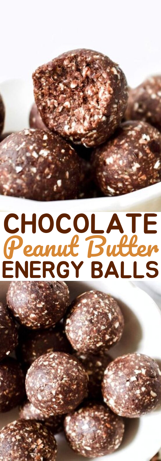No-Bake Chocolate Peanut Butter Energy Balls #healthy #snacks
