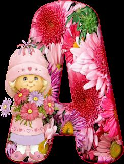 Alfabeto con Nena con Muchas Flores.