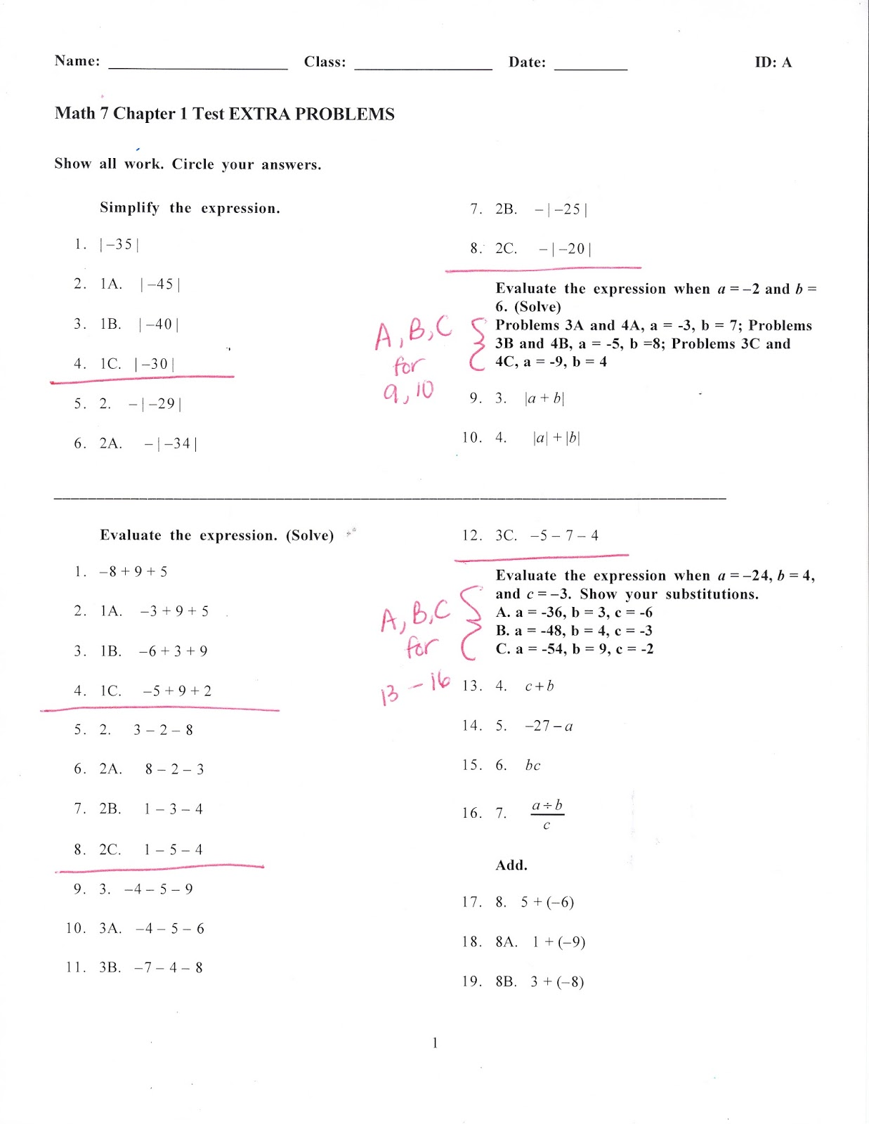 Ms Jean S Classroom Blog Math 7 Chapter 1 Test Extra