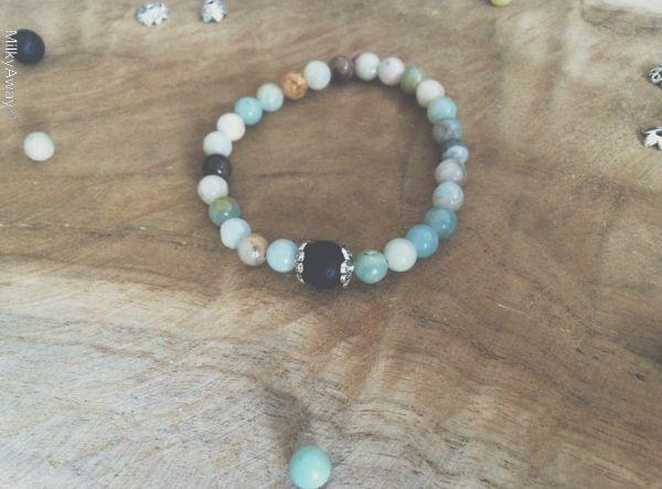 Bracelet en pierre d'amazonite et sa perle de lave My Roller Stone